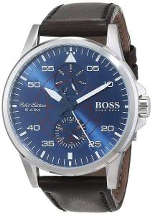 HUGO BOSS Black Leather & Navy Chronograph Watch
