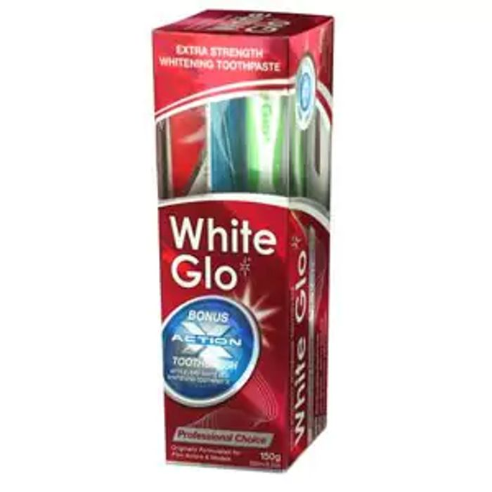 White Glo Professional Choice Toothpaste 100ml Free Toothbrush & Dental Flosser