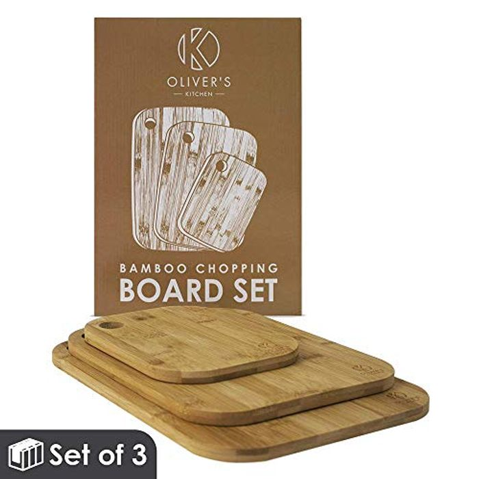 Oliver's Kitchen 100% Natural Bamboo Cutting Boards - Set of 3
