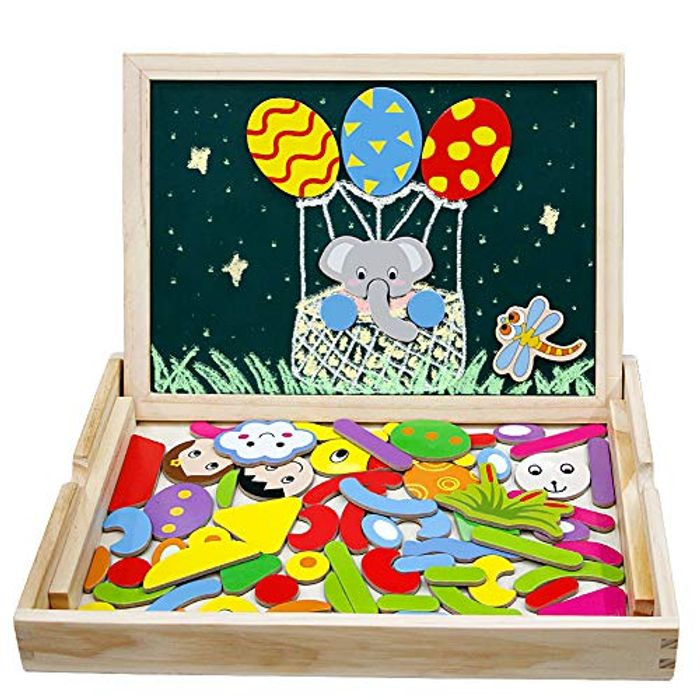 Wooden Magnetic Drawing Board Elephant Jigsaw Puzzles