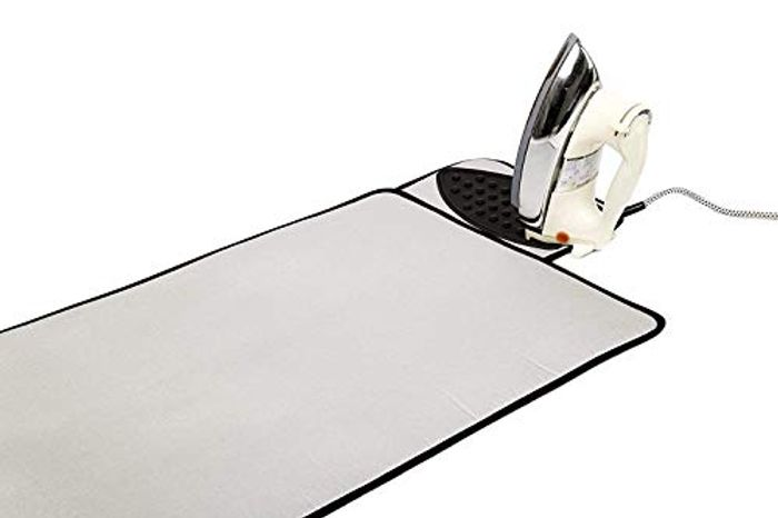 Silver Ironing Mat with Silicone Iron Rest, Special Heat Resistant Surface