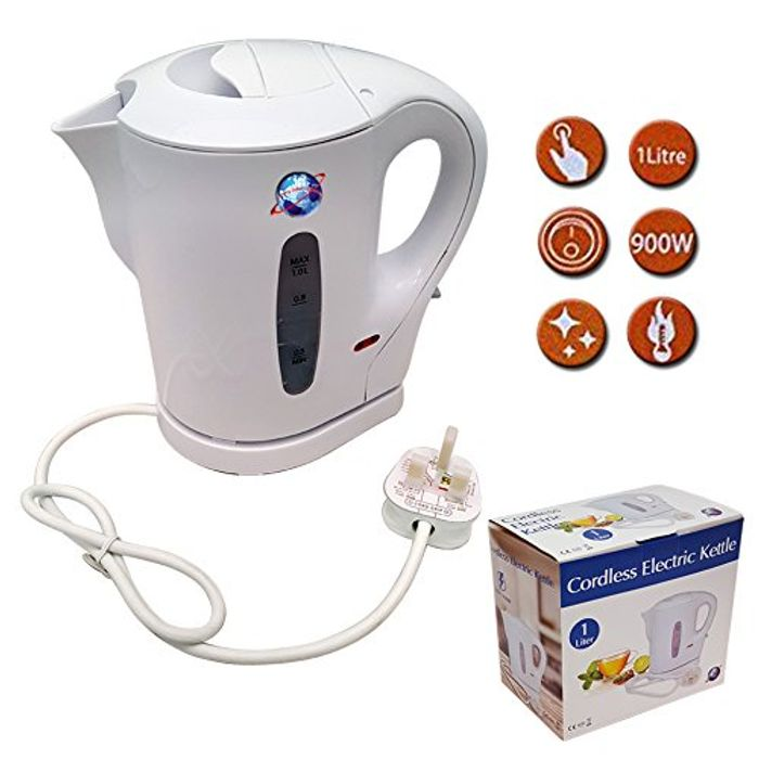 White 900w Electric Cordless Kitchen Kettle Caravan Travel Hot Water Jug