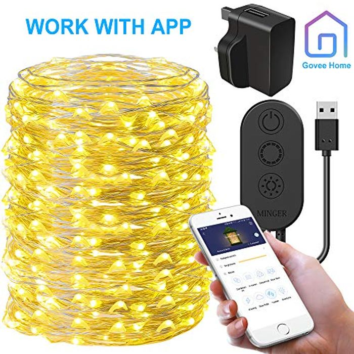 Starry String Light with APP Control, Govee 20m/66ft Fairy Copper Wire - 60% Off