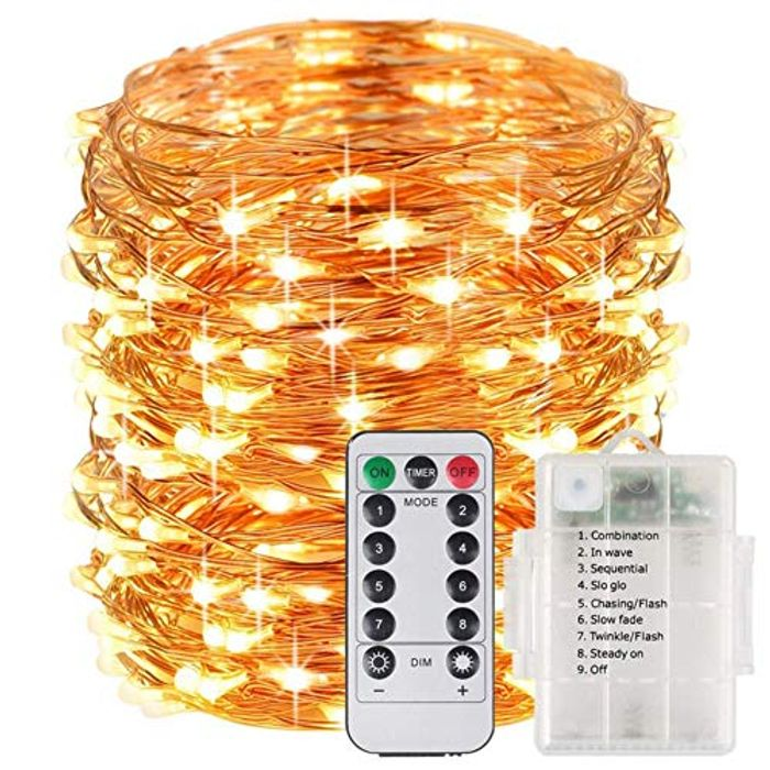 Deal Stack! 33ft Fairy String Lights Battery Operated with 8 Modes