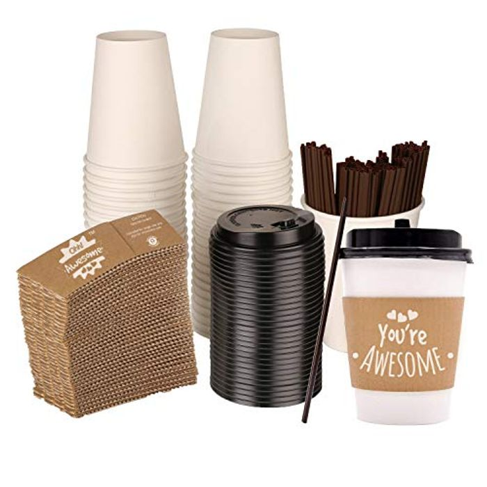 Ohh Awesome 50 Disposable Coffee Cups with Lids & Stirrers- save 50%