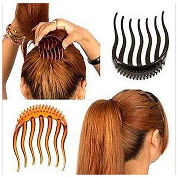 Women Hair Comb Clip Plastic 7 Teeth Hair Bun Comb Pin Hair Accessory (Black)