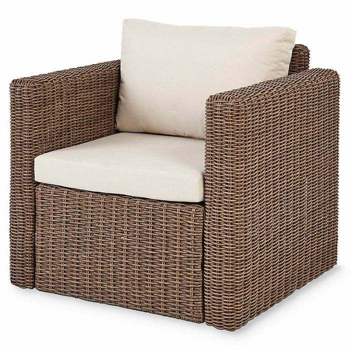Soron Rattan Effect Armchair with Cushions