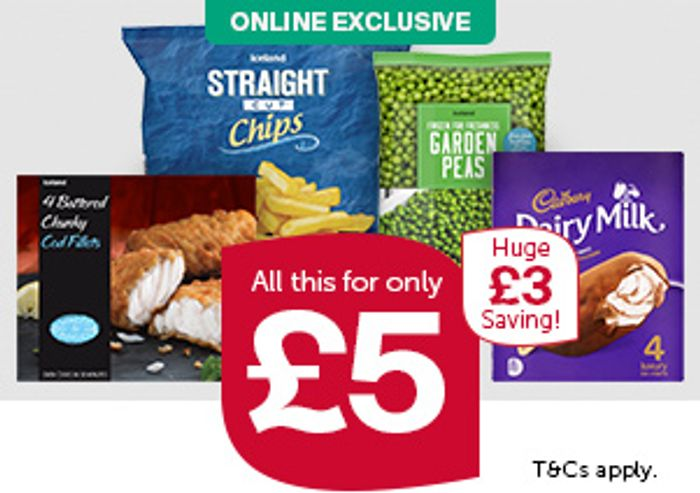 (Online) Iceland Feed 4 for £5 Fish , Chips , Peas + Dairy Milk Icecream