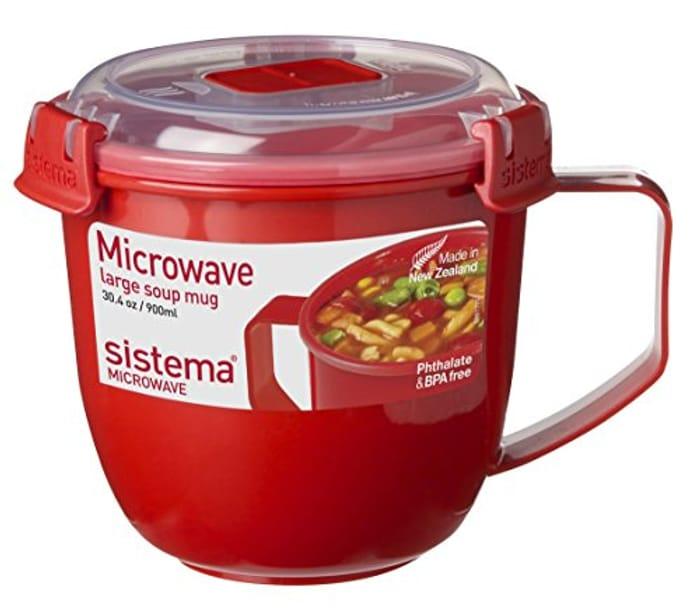 Sistema Microwave Soup Mug, Plastic, 900 Ml - Red/Clear - Save £1!