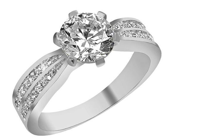 Silver Plated Solitaire Crystal Ring