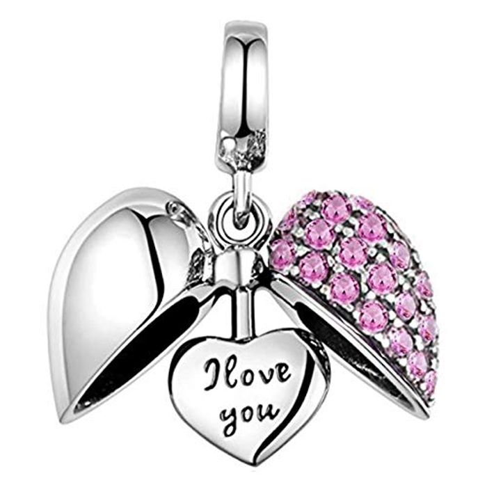 I Love You Silver Heart Charm 925