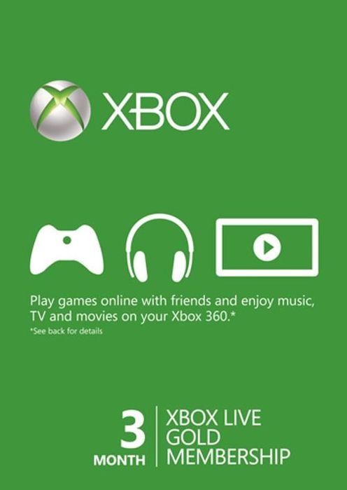 3 Month Xbox Live Gold Membership Card (Xbox One/360) - Save £4!