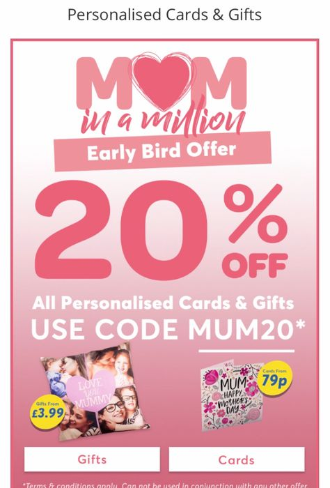 20% off Personalised Gifts at Card Factory!!