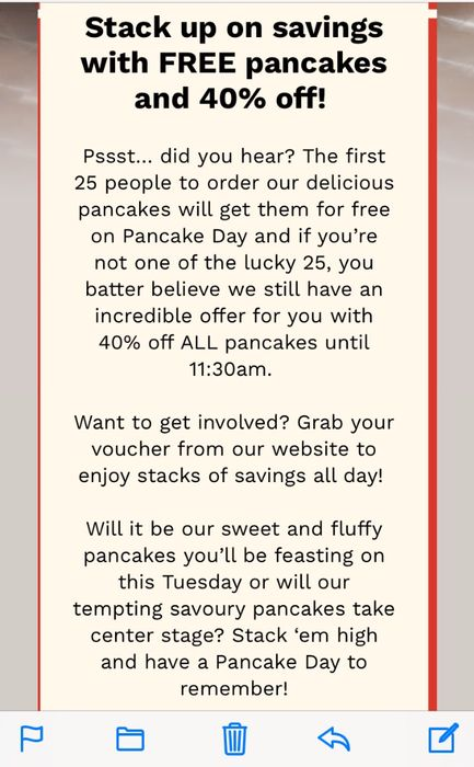 Free Pancakes on Pancake Day Tuesday 5th March