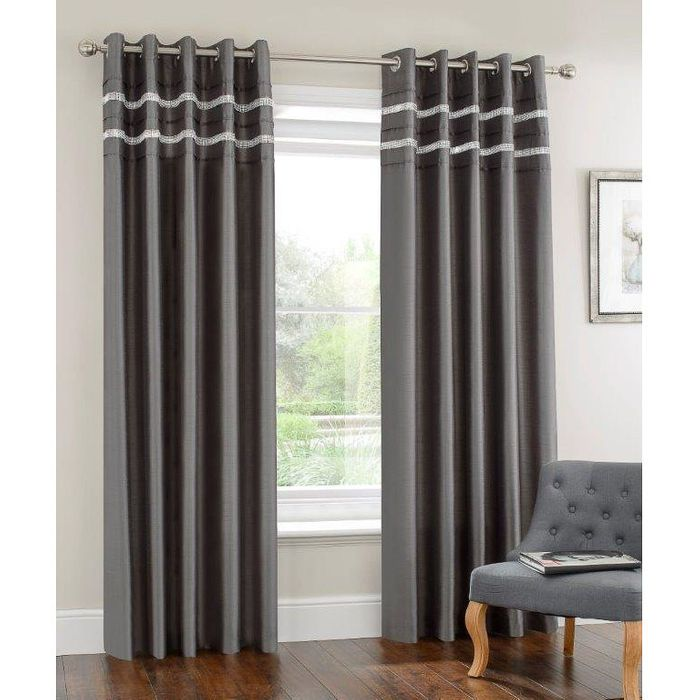 "Diamante Pleated Fully Lined Curtain 90 X 90"" - 60% Off"