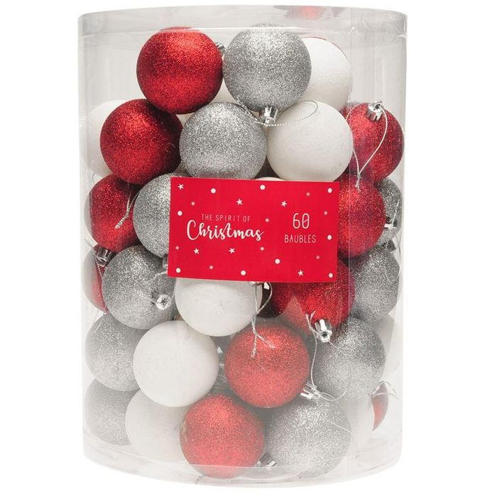 The Spirit of Christmas 60 Pack Assorted Baubles