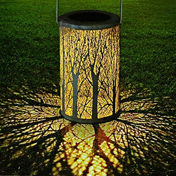 LED Solar Lantern Outdoor Decorative Hanging Garden Cylindrical Lamp