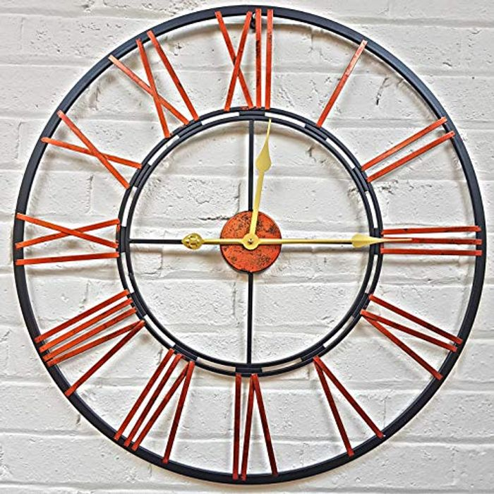 Home Large Skeleton Metal Wall Clock Roman Numeral - HALF PRICE with Code