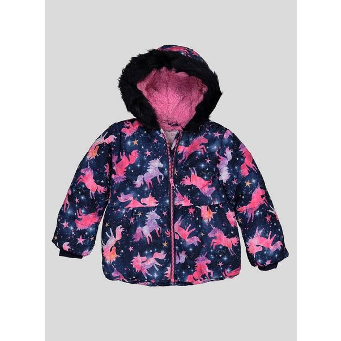 Navy Unicorn Puffer Coat with Hood