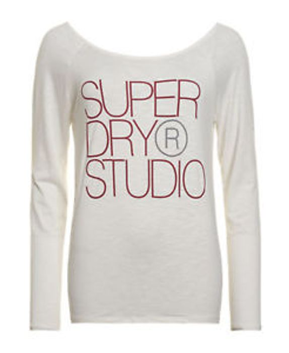 Womens Superdry Factory Second Studio Drape Back Top Ecru
