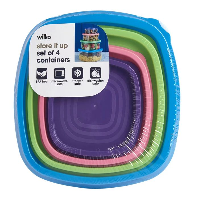 Great Value Wilko Set of 4 Rainbow Containers Free C&C