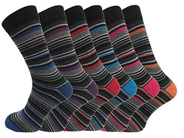 6 Pk Mens Luxury Stripe Cotton Rich Sock 6-11 UK FREE DELIVERY