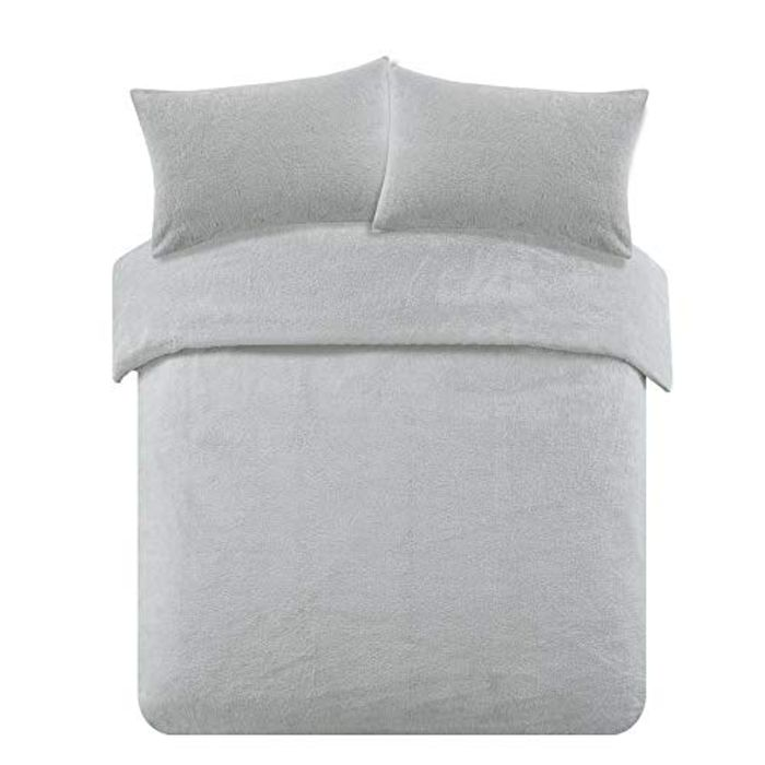 Brentfords Teddy Fleece Duvet Cover with Pillow Case Grey Double