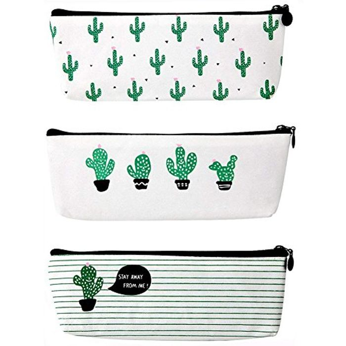 **BARGAIN** 3 Pack Cute Cactus Cosmetic Bags or Pencil Cases