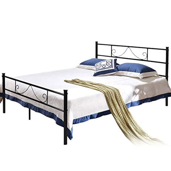 *STACK DEAL* Double Metal Bed Frame 4ft 6 Beds with Strong Headboard