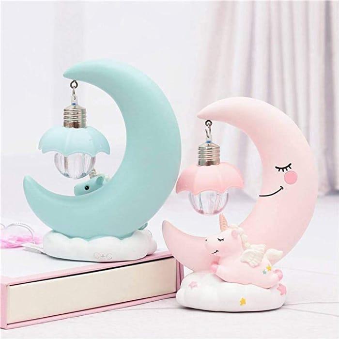 LED Night Light Moon Unicorn Resin Cartoon Nursery Lamp