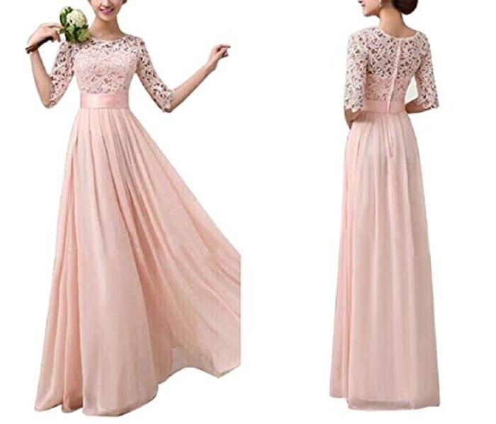 Women's v Neck Floral Lace Chiffon Evening Dress