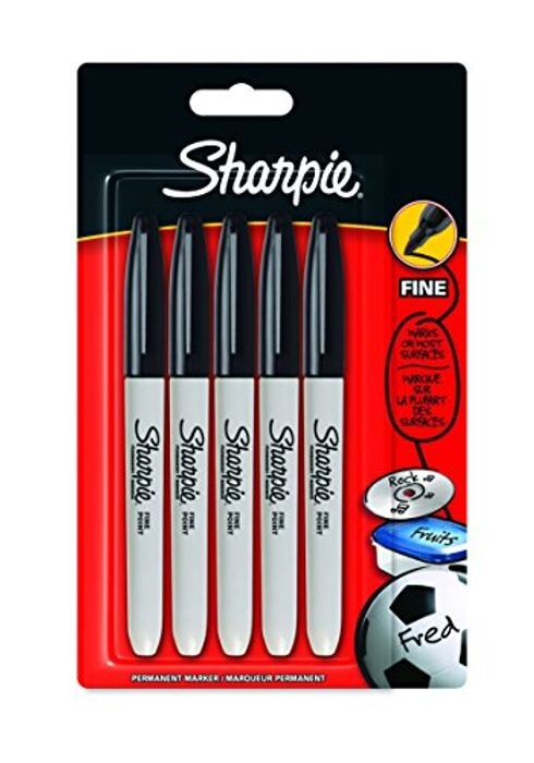 Sharpie Fine Point Permanent Marker, Black, Pack of 5