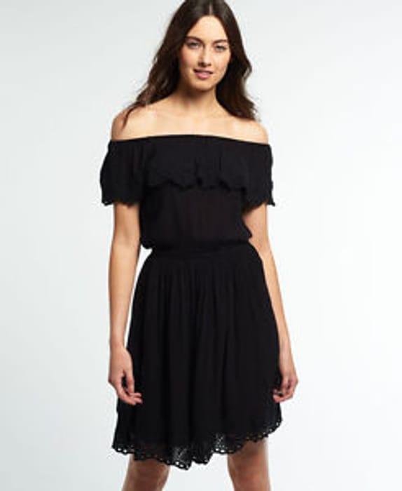 Womens Superdry Schiffli Frill Mini Dress Black