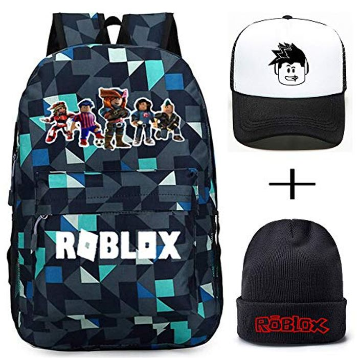 Roblox Backpack with Baseball Cap and Knitted Hat,