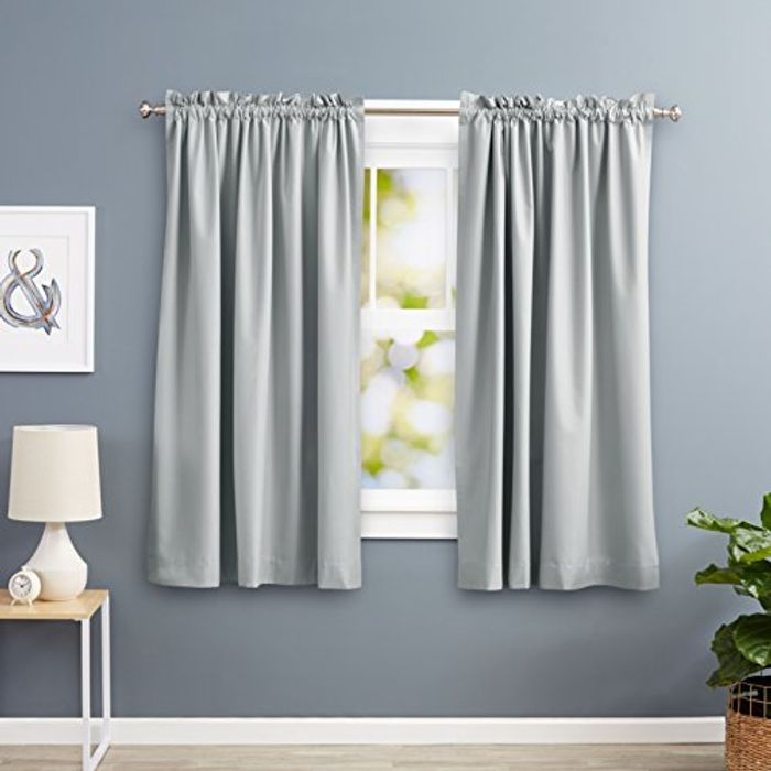 AmazonBasics Blackout Curtain 2 Piece 117 X 137 Cm (W X L) - Light Grey