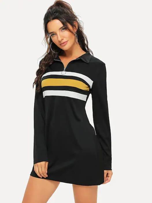 Striped Panel Quarter Zip Dress