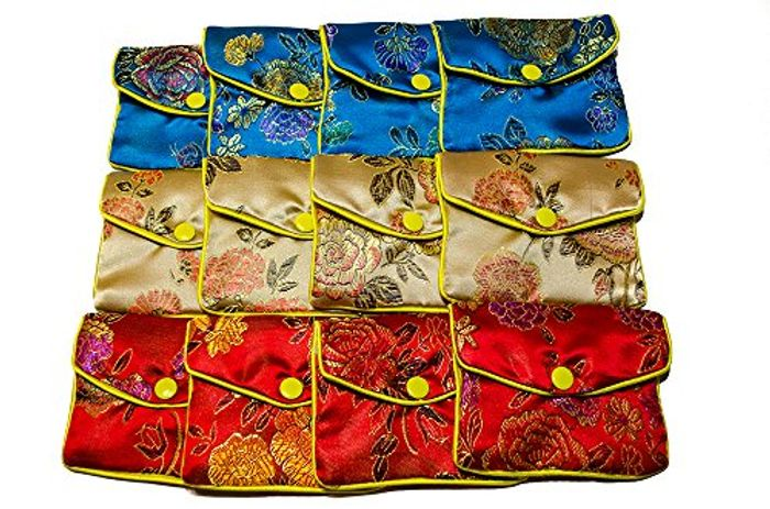 **BARGAIN** Pack of 12 Jewellery Silk Purse Pouch
