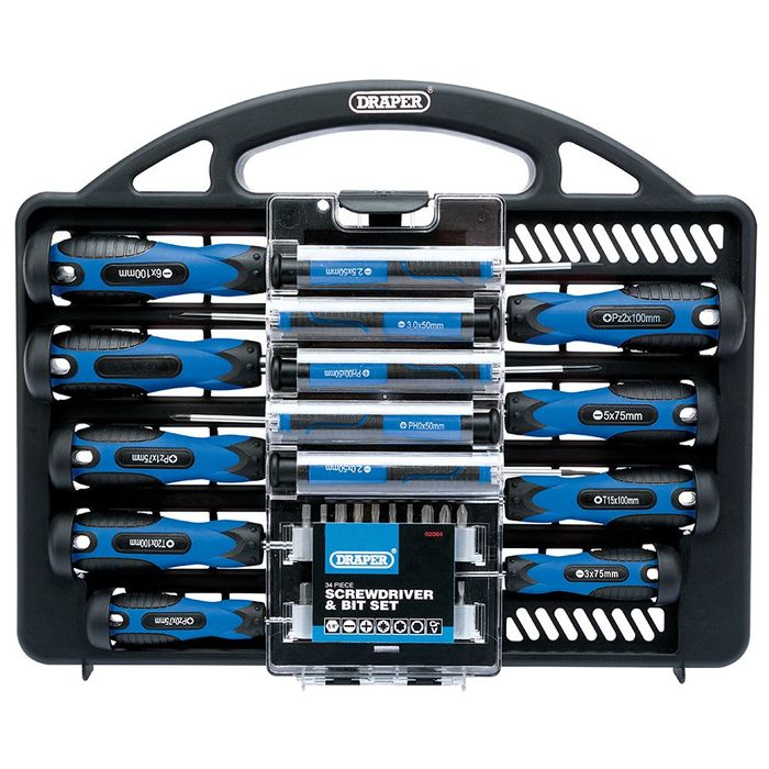 Draper 34-Piece Screwdriver & Bit Set