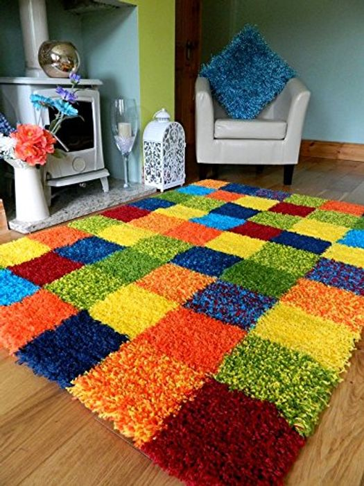Bright Modern Thick Soft Heavy Quality Shaggy Area Rug