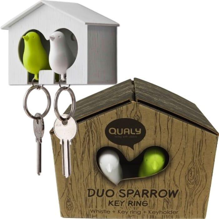 Duo Sparrow Bird House & Keyring