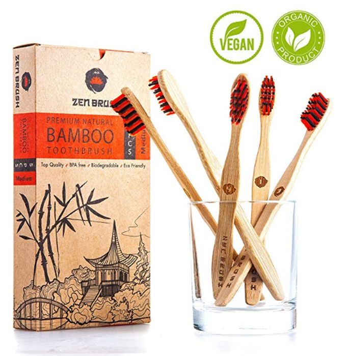 5 X Bamboo Toothbrushes