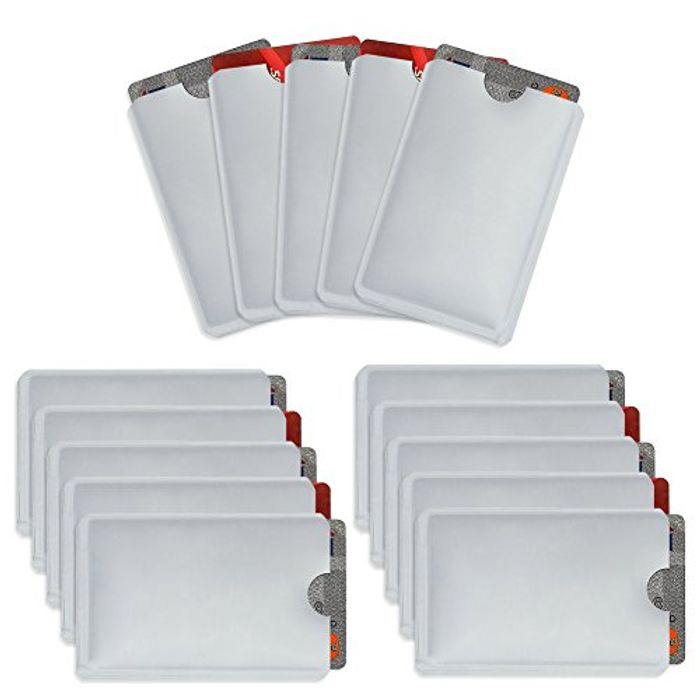 RFID Secure Credit Card Sleeves Pack of 15 Contactless Card Protection Holders