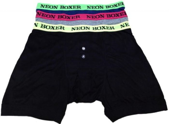 Cheap Mens Classic Boxer Shorts Trunk with Neon Waistband Underwear 3 PK