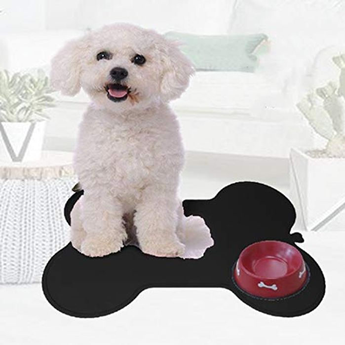 Waterproof Non Slip Dog Cat Bowl Placemat Black