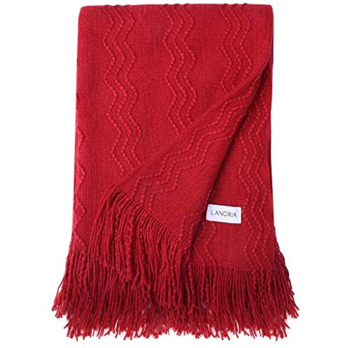 LANGRIA Premium Knitted Throw Blanket