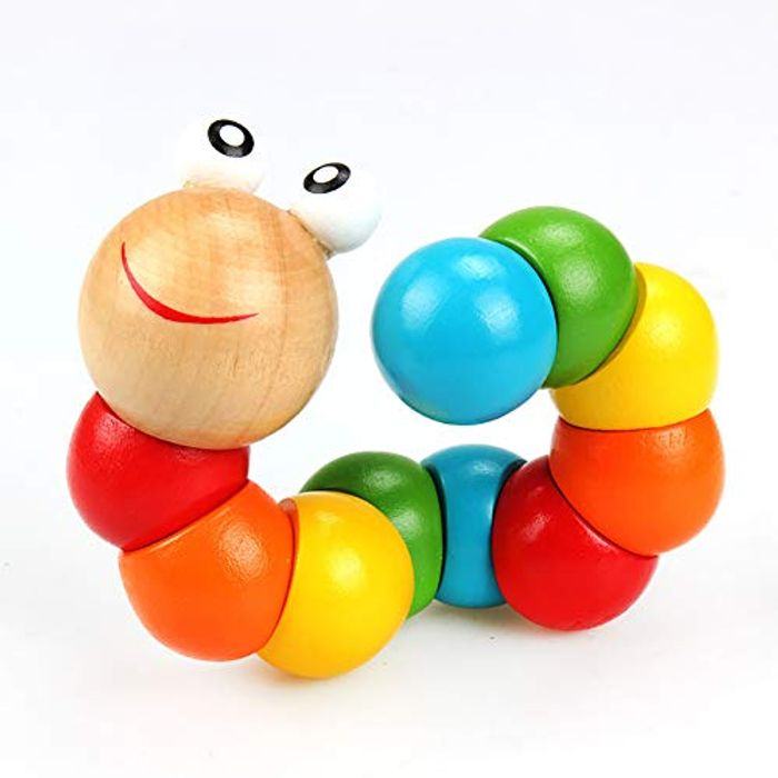 Colorful Wooden Worm Toy Wiggly Worm Wooden Jointed Worm Sensory