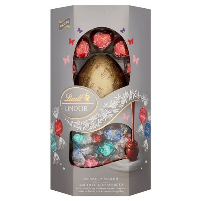 Lindit Lindor Silver Assorted Milk Chocolate Egg 355g - Save £5