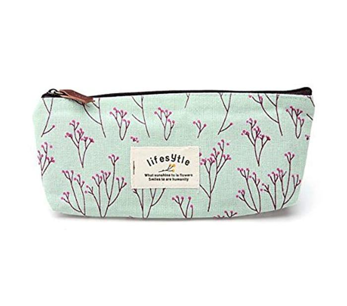 Blue Floral Pencil Case Make up Bag Pouch Only 97p