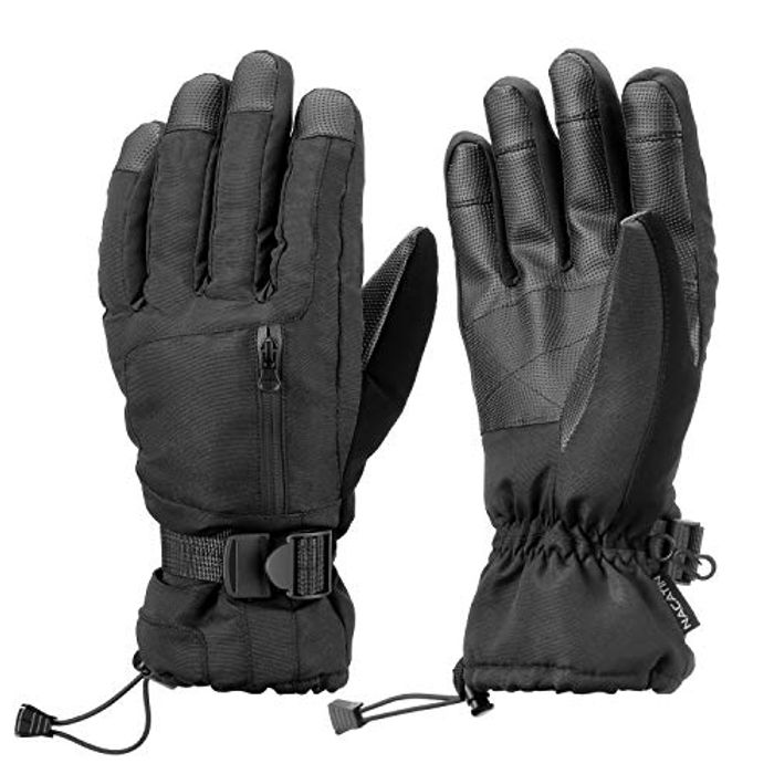 NACATIN Waterproof Ski Gloves with Pocket