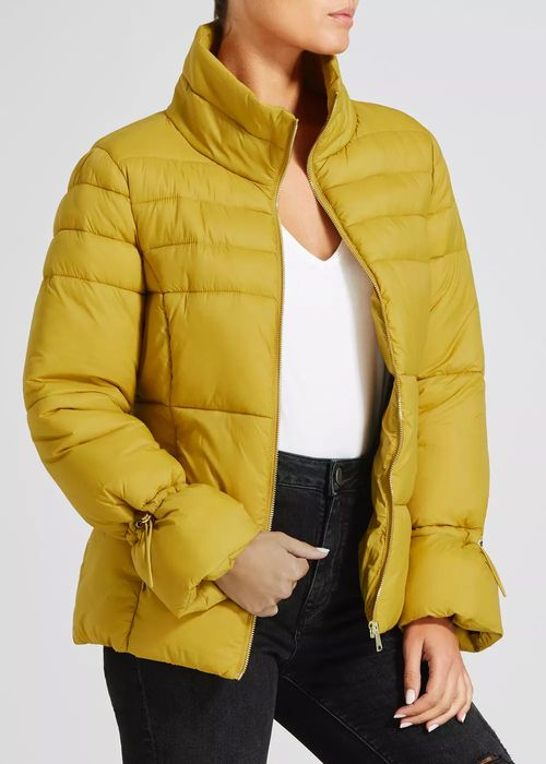Short Padded Coat in Bold Yellow